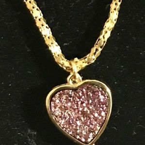 Gold Wrapped Pink Titanium Crystal